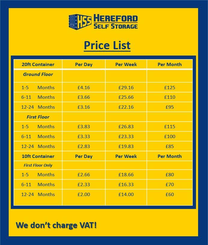 Hereford Self Storage Pricing Hereford Self Storage